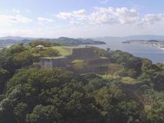 米子城跡上空からの写真