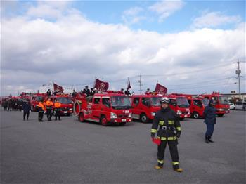 消防車の集合のようす